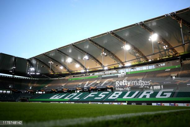 General view inside the stadium prior to the UEFA Europa League group I match between VfL Wolfsburg and FC Oleksandriya at Volkswagen Arena on...