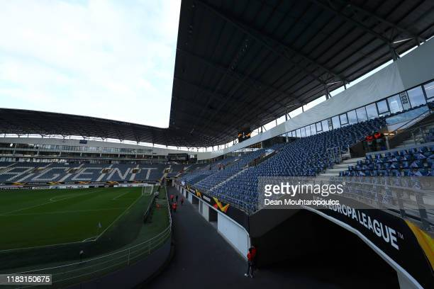 General view inside the stadium prior to the UEFA Europa League group I match between KAA Gent and VfL Wolfsburg at Ghelamco Arena on October 24,...