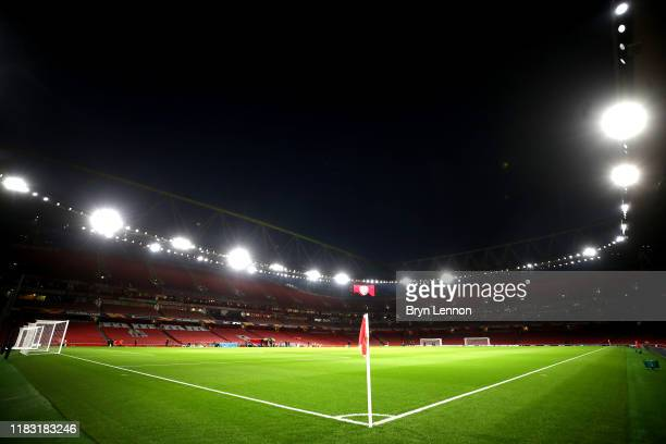General view inside the stadium prior to the UEFA Europa League group F match between Arsenal FC and Vitoria Guimaraes at Emirates Stadium on October...