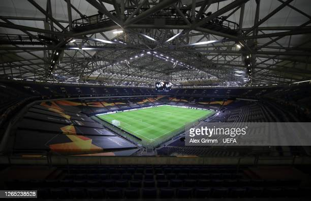 General view inside the stadium prior to the UEFA Europa League Quarter Final between Shakhtar Donetsk and FC Basel at Veltins-Arena on August 11,...