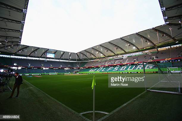 A general view inside the stadium prior to the UEFA Europa League Quarter Final first leg match between VfL Wolfsburg and SSC Napoli at Volkswagen...
