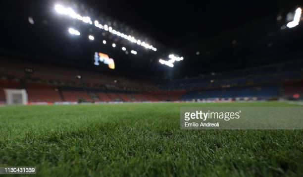 A general view inside the stadium prior to the UEFA Europa League Round of 16 Second Leg match between FC Internazionale and Eintracht Frankfurt at...