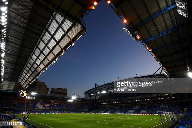 General view inside the stadium prior to the UEFA Europa League Round of 32 Second Leg match between Chelsea and Malmo FF at Stamford Bridge on...