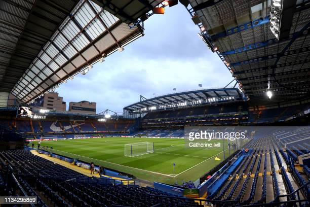 General view inside the stadium prior to the UEFA Europa League Round of 16 First Leg match between Chelsea and Dynamo Kyiv at Stamford Bridge on...