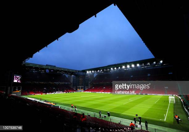 General view inside the stadium prior to the UEFA Europa League round of 32 first leg match between FC Kobenhavn and Celtic FC at Telia Parken on...