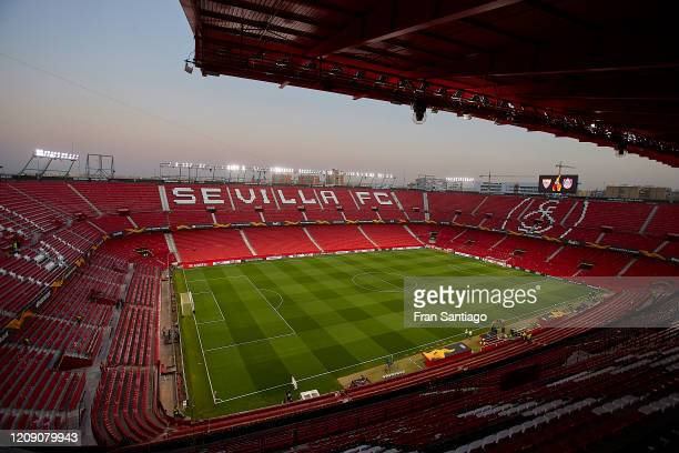 General view inside the stadium prior to the UEFA Europa League round of 32 second leg match between Sevilla FC and CFR Cluj at Estadio Ramon Sanchez...