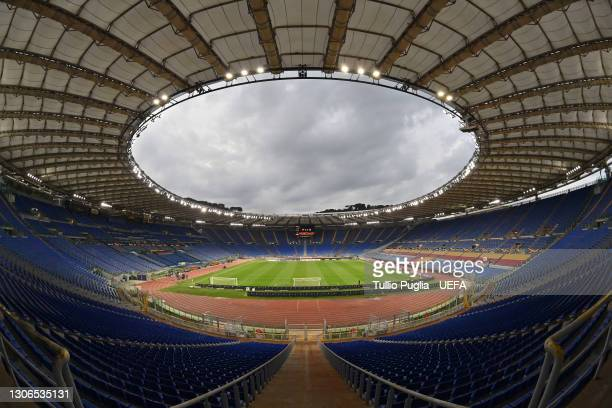 General view inside the stadium prior to the UEFA Europa League Round of 16 First Leg match between AS Roma and Shakhtar Donetsk at Olimpico Stadium...