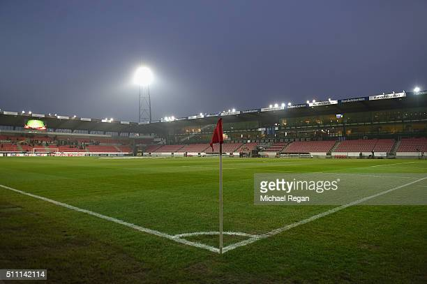 A general view inside the stadium prior to the UEFA Europa League round of 32 first leg match between FC Midtjylland and Manchester United at Herning...