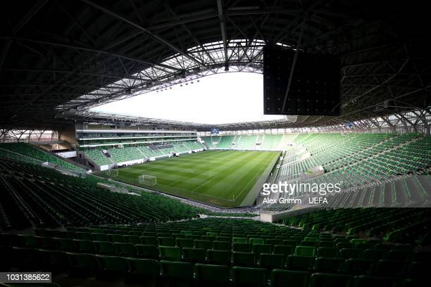 General view inside the stadium prior to the UEFA Nations League C Group two match between Hungary and Greece at Groupama Arena on September 11, 2018...