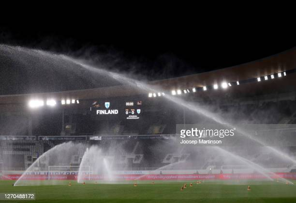 General view inside the stadium prior to the UEFA Nations League group stage match between Finland and Wales at Helsingin Olympiastadion on September...