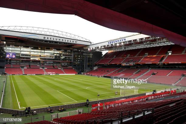 General view inside the stadium prior to the UEFA Nations League group stage match between Denmark and England at Parken Stadium on September 08,...