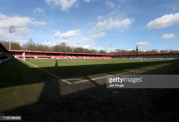 General view inside the stadium prior to the Vanarama National League match between Salford City and Dover Athletic at Peninsula Stadium on February...