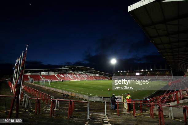 General view inside the stadium prior to the Vanarama National League match between between Wrexham and Woking at Racecourse Ground on February 16,...