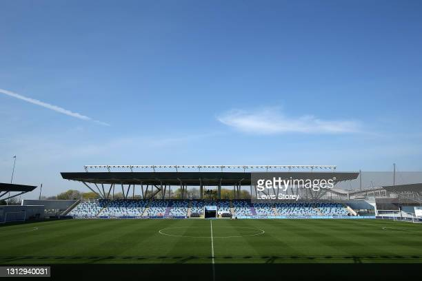 General view inside the stadium prior to the Vitality Women's FA Cup Fourth Round match between Manchester City Women and Aston Villa Women at...