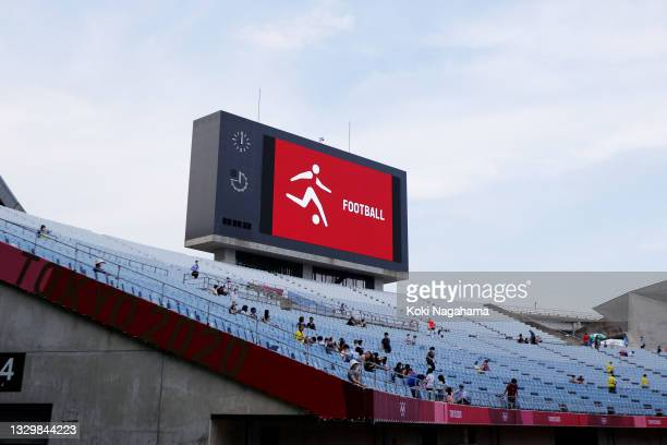 General view inside the stadium prior to the Women's First Round Group F match between China and Brazil during the Tokyo 2020 Olympic Games at Miyagi...