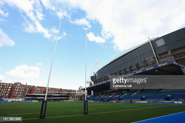 General view inside the stadium prior to the Women's Six Nations match between Wales and Ireland at Cardiff Arms Park on April 10, 2021 in Cardiff,...