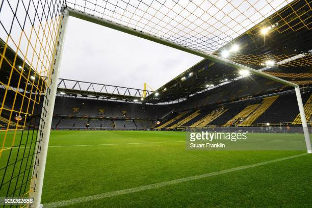 A general view inside the stadium prior to UEFA Europa League Round of 16 match between Borussia Dortmund and FC Red Bull Salzburg at the Signal...