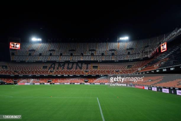 General view inside the stadium prior tog the La Liga Santander match between Valencia CF and Getafe CF at Estadio Mestalla on November 01, 2020 in...