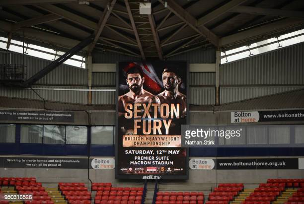 A general view inside the stadium showing an information display during the Sam Sexton and Hughie Fury Press Conference at Macron Stadium on April 23...
