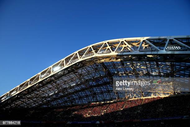 General view inside the stadium showing the crowd during the 2018 FIFA World Cup Russia group G match between Belgium and Panama at Fisht Stadium on...