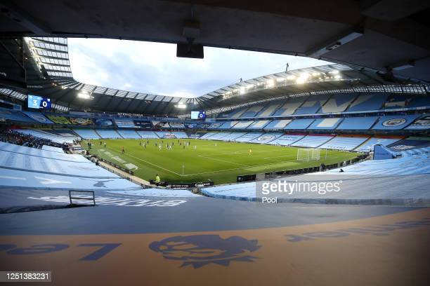 General view inside the stadium showing the empty seat coverings during the Premier League match between Manchester City and Burnley FC at Etihad...