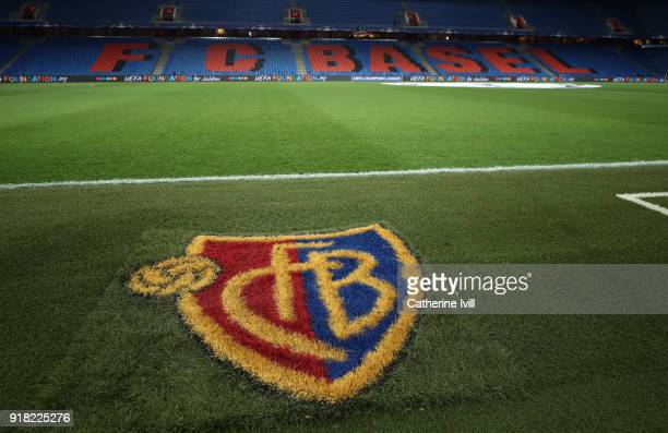 General view inside the stadium showing the FC Basel club badge painted on the grass before the UEFA Champions League Round of 16 First Leg match...