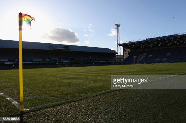 A general view inside the stadium showing the rainbow corner flag prior to the Sky Bet League One match between Portsmouth and Plymouth Argyle at...