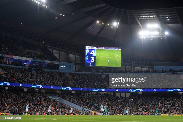 General view inside the stadium showing the score during the UEFA Champions League Quarter Final second leg match between Manchester City and...