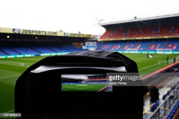 General view inside the stadium showing the view of a television camera prior to the Premier League match between Crystal Palace and Newcastle United...