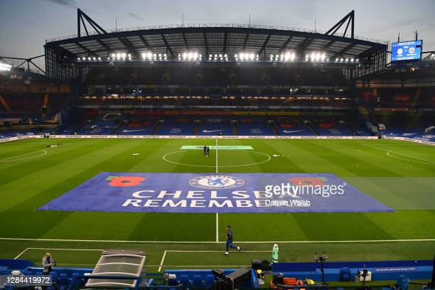 General view inside the stadium where a banner reading 'Chelsea Remembers' is seen on the pitch, marking Armistice Day prior to the Premier League...