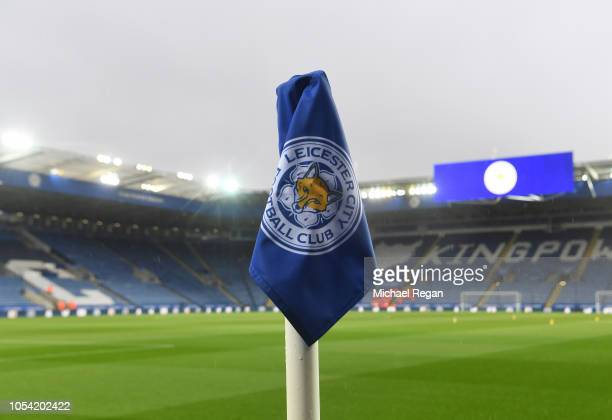 General view inside the stadium where a detailed view of a corner flag can be seen prior to the Premier League match between Leicester City and West...