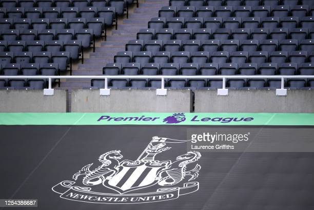 General view inside the stadium where a Newcastle United banner is seen alongside the Premier League logo prior to the Premier League match between...