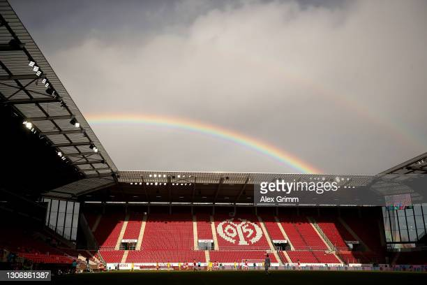 General view inside the stadium where a rainbow is seen during the Bundesliga match between 1. FSV Mainz 05 and Sport-Club Freiburg at Opel Arena on...