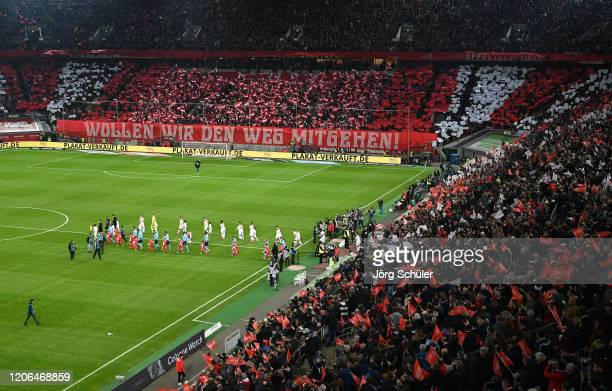 General view inside the stadium where a tifo in support of Fortuna Dusseldorf can be seen prior to the Bundesliga match between Fortuna Duesseldorf...