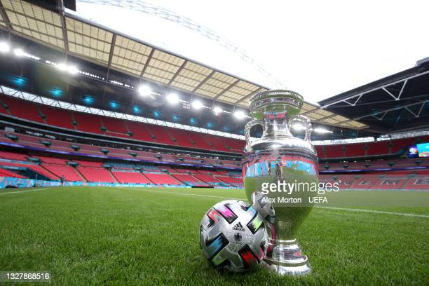 General view inside the stadium where a view of The Henri Delaunay Trophy is seen alongside the Adidas UNIFORIA FINALE match ball ahead of the UEFA...