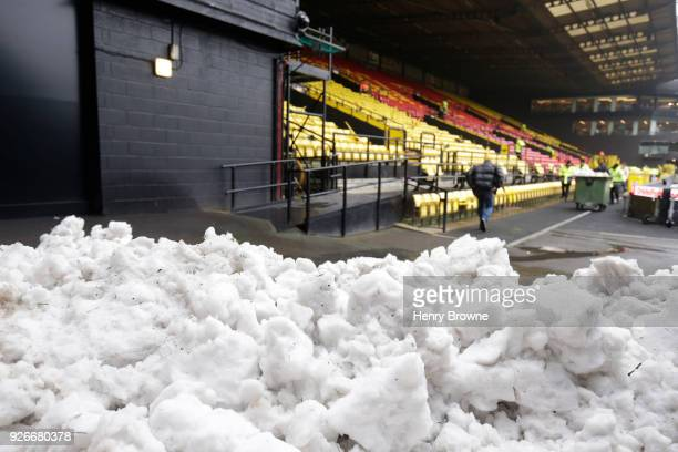 General view inside the stadium where snow can be seen prior to the Premier League match between Watford and West Bromwich Albion at Vicarage Road on...
