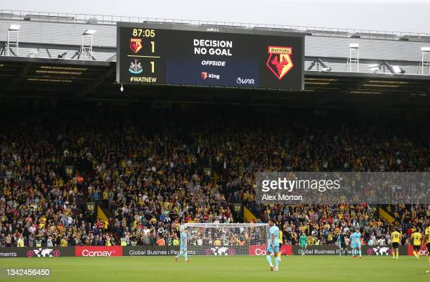 General view inside the stadium where the big screen displays a VAR no goal decision during the Premier League match between Watford and Newcastle...