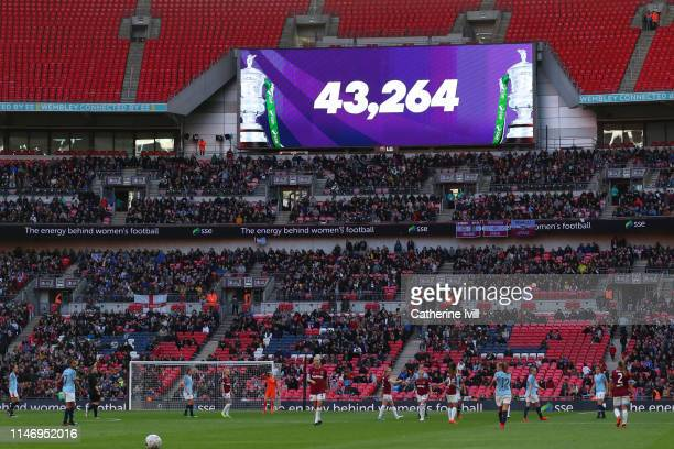 General view inside the stadium where the Big Screen displays the match attendance during the Women's FA Cup Final match between Manchester City...