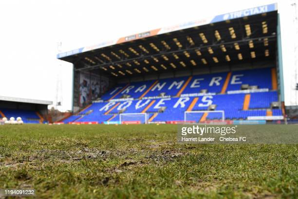 General view inside the stadium where the muddy pitch can be seen prior to the Barclays FA Women's Super League match between Liverpool and Chelsea...