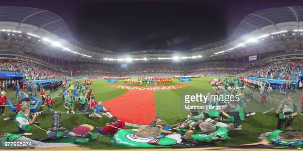 General view inside the stadium while teams line up during the 2018 FIFA World Cup Russia group G match between Tunisia and England at Volgograd...
