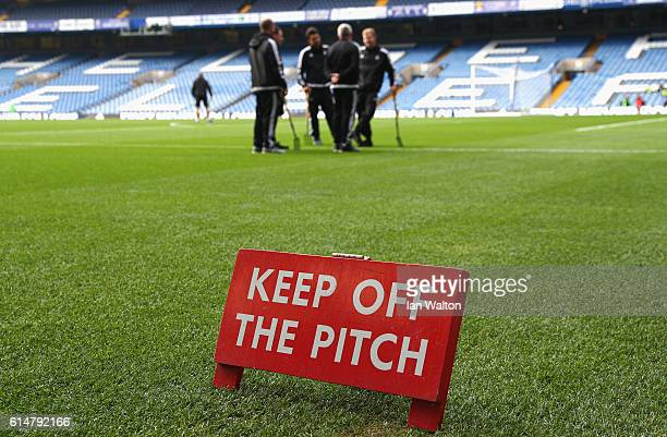 General view inside the stadium while the groundsmen speak on the pitch prior to kick off during the Premier League match between Chelsea and...