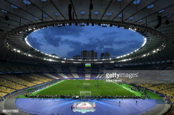 General view inside the stadium whilst Real Madrid train during a Real Madrid training session ahead of the UEFA Champions League Final against...