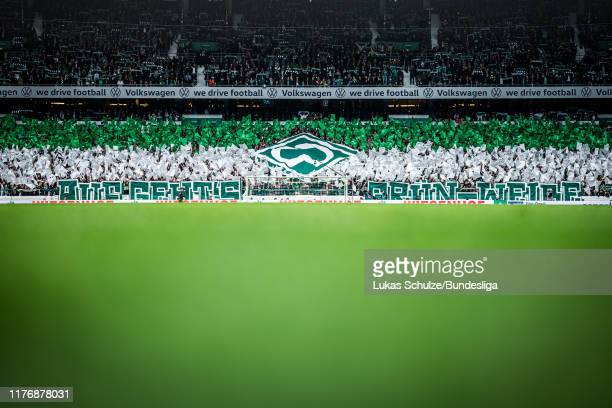 General view inside the stadium with a choreography of Bremen prior to the Bundesliga match between SV Werder Bremen and Hertha BSC at Wohninvest...