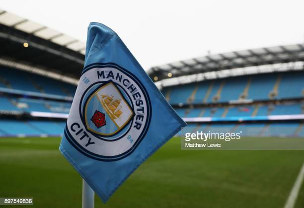 General view inside the stadium with a close up of the corner flag prior to the Premier League match between Manchester City and AFC Bournemouth at...