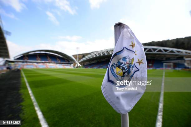 General view inside the stadium with a detailed view of a corner flag prior to the Premier League match between Huddersfield Town and Watford at John...