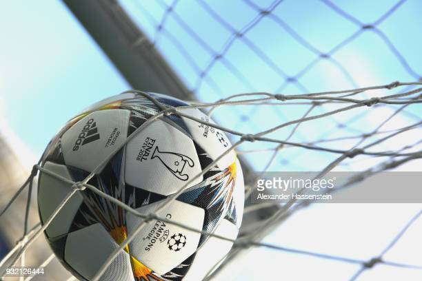 A general view inside the stadium with a practice ball in the net prior to the UEFA Champions League Round of 16 Second Leg match Besiktas and Bayern...