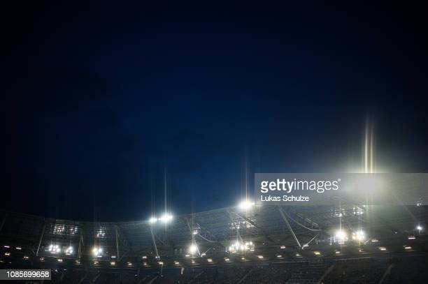 General view inside the stadium with flood light during the Bundesliga match between Hannover 96 and Fortuna Duesseldorf at HDIArena on December 22...