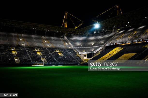 General view inside the stadium with less floodlight after the Bundesliga match between Borussia Dortmund and Bayer 04 Leverkusen at Signal Iduna...
