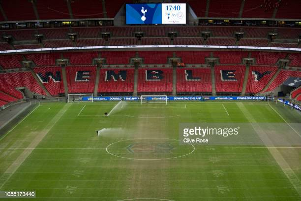General view inside the stadium with the NFL logo still on the pitch prior to the Premier League match between Tottenham Hotspur and Manchester City...
