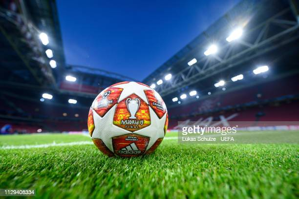 General view inside the stadium with the official match ball prior to the UEFA Champions League Round of 16 First Leg match between Ajax and Real...